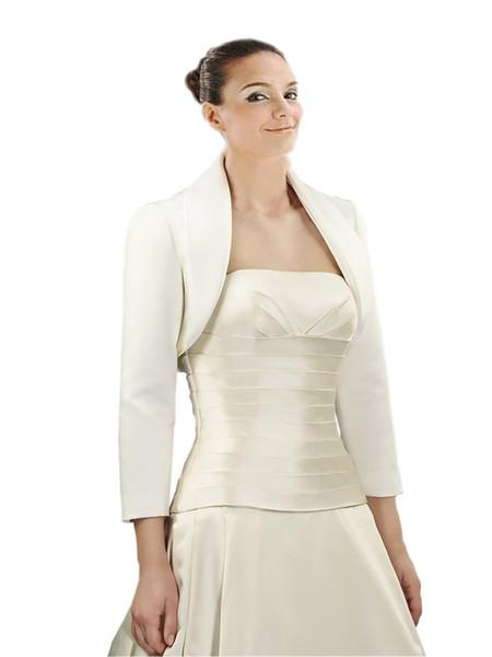 2019 High Quality satin Cheap Wedding Bridal Jackets Bolero With Long Sleeves White Ivory Wedding Wrap For Wedding Dress Gowns Plus size
