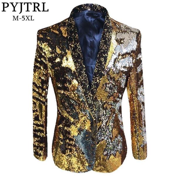 Pyjtrl Tide Men Double-color Sequins Coat Suit Jacket Punk Nightclub Bar Dj Fashion Flip Paillette Blazer Stage Singer Costumes