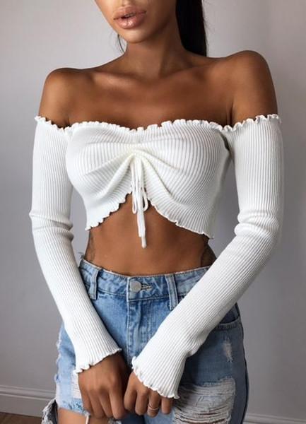 Women off Shoulder Summer Shirt Long Sleeve Casual Skinny Shirt Tops Women Fashion T Shirt Black Plus Size S-XL