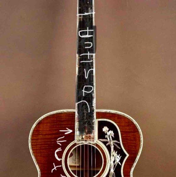 custom made 43 inch Jumbo Acoustic Guitar Natural wood J200 with fishman sonitone under saddle pickup no pickguard