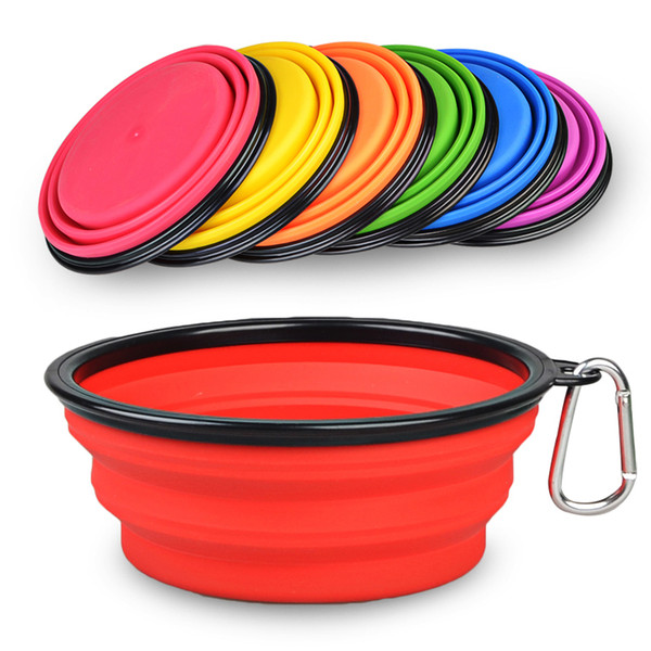 best selling Potable Travelling Hiking Outdoor Dual Use Dog Bottle Foldable Soft Pet Cat Bowls 8 Colors To Choose Free Shipping DHL