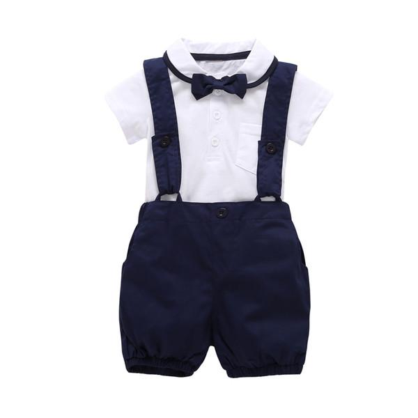 2019 Fashion Boy Clothes Short Sleeve White T Shirt+pants+bow Tie 3cps Gentleman Baby Clothing Set Newborn Kid Wedding Suit Q190530