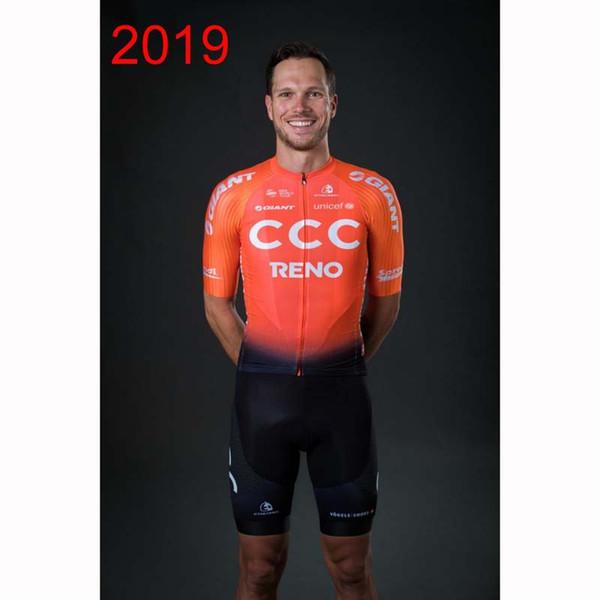 2019 CCC КОМАНДА Велоспорт Одежда Велосипед Джерси Высокое качество Мужские Велосипеды летние рубашки Велоспорт Джерси 3D ГЕЛЬ колодки велосипед шорты Y052722