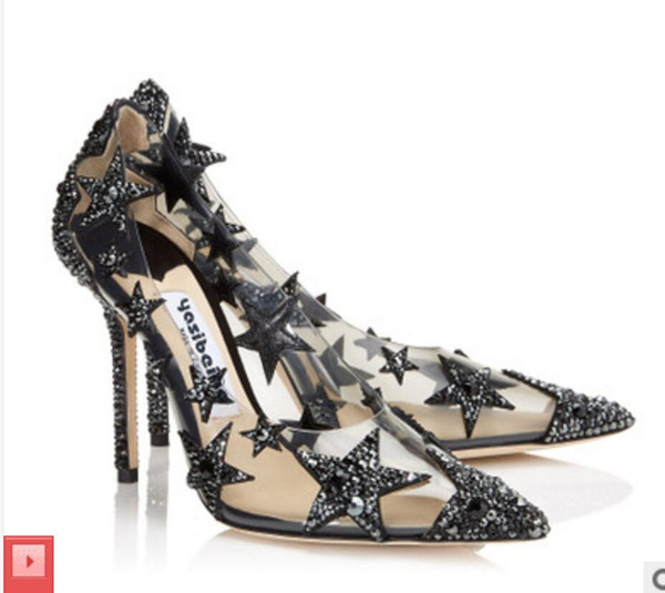 2019 НОВЫЙ СТИЛЬ Свадебная обувь Классическая обувь Сандалии с мелкой звездой Mercury Diamond Tip 7CM 9CM на высоком каблуке Сексуальные женские туфли на высоком каблуке 34-44