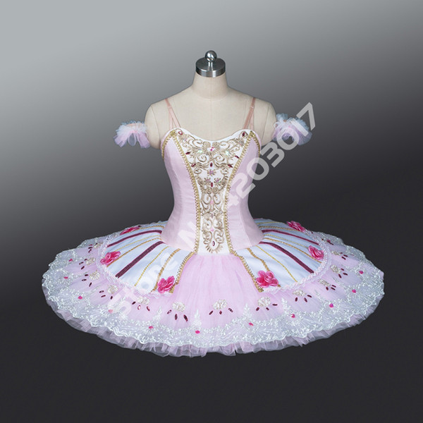 Adult Child Pink Professional Ballet Tutus Performance Stage Pancake Tutu Girls Ballet Dancewear Ballerina Dress Women B1220