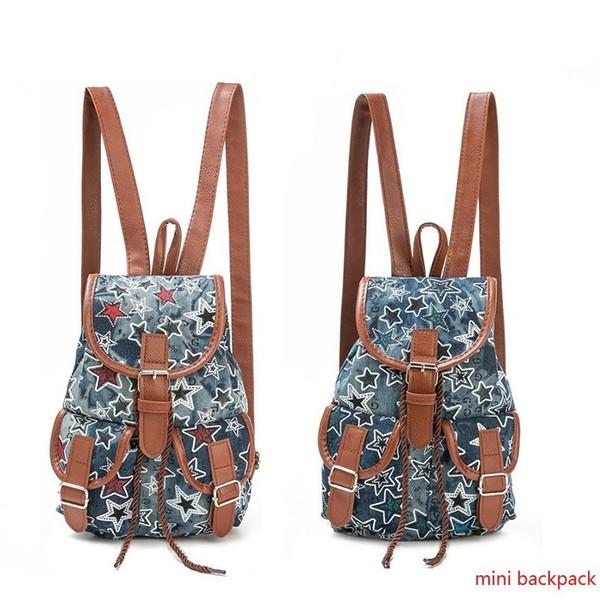 good quality Fashion Mini Star Printed Denim Backpack Girls Small Drawstring Design Jeans Backpack For Children Lady Rucksack