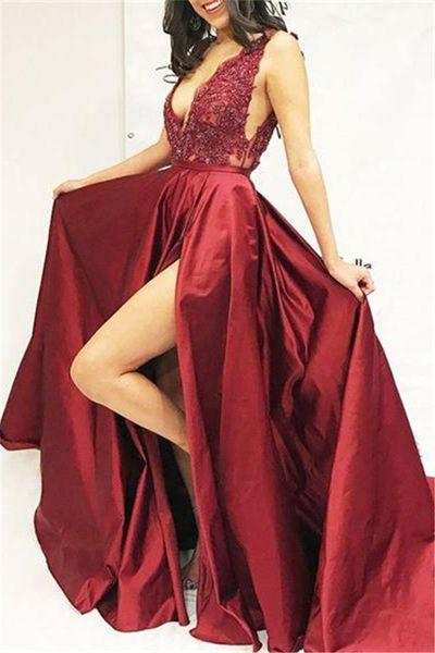 2019 Sexy V Neck Sleeveless Side Slit Straps Prom Dresses Cheap A-Line Appliques Sequins Evening Dresses Evening Dresses Guest Dress Robes