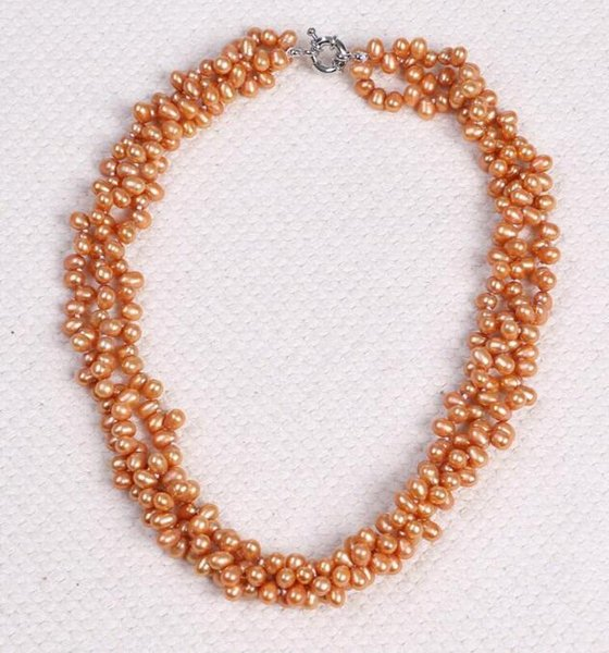 FREE SHIPPING ! + 5-6MM Natural freshwater pearl necklace fashion jewelry manufacturers selling three layer winding