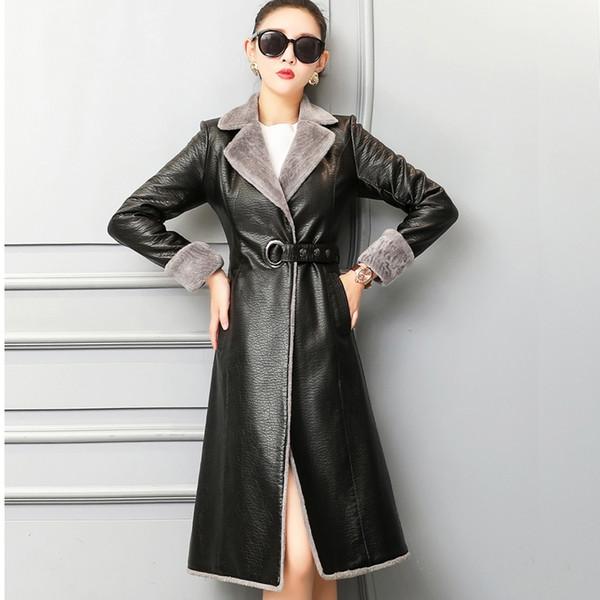 Echtes Leder Frauen Wintermantel Umlegekragen Lange Outwear Mantel Natürliche Schaffell Lamm Kaschmir Frauen Mantel M-4XL G761