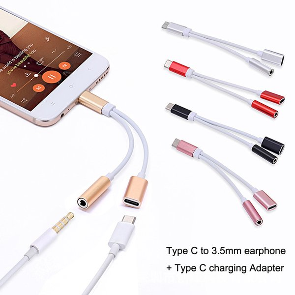 top popular Type C to Type C 3.5mm Aux Jack Charging Audio Adapter 2 In 1 Splitter Adapter Customize Logo 2021
