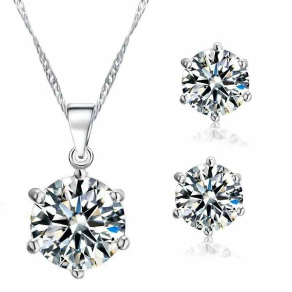 Pretty Jewelry Sets for Women Round Cubic Zircon Beautifully Hypoallergenic Copper Earrings Necklace Set bridal jewelry sets