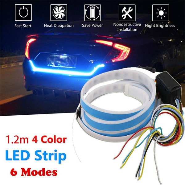 1.2m 12v 4 color rgb flow type led car tailgate strip waterproof brake driving turn signal light car styling