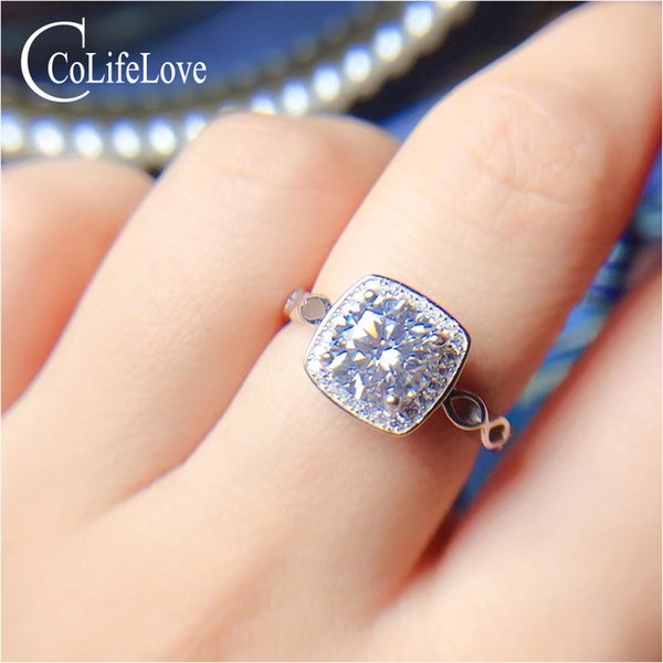 CoLife Jewelry 925 Silver Moissanite Ring for Engagement 1ct D Color VVS1 Grade Moissanite Silver Ring Gift for Girlfirend