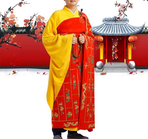 shaolin monk ricamato tunica cassoni mille Millennium Dragon adatta buddha buddista laici zen abbigliamento benedizione uniformi