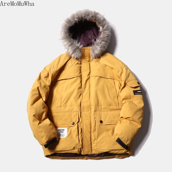 AreMoMuWha Winter New American Cotton Jacket Tide Brand Couple Hooded Jacket Male Japanese Retro Short Large Fur Collar Cotton