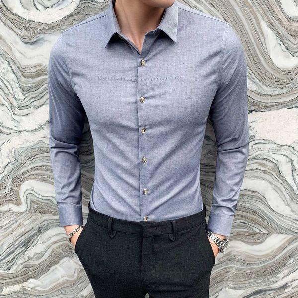 Homme Slim manches longues Chemise Casual Wear formelle Soirée Robe Chemises Haut