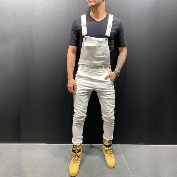 Color: Black White Green Red Khaki 2019 New Denim Bib Korean Slim Men's Trousers Men's Pants Size S-XXXL