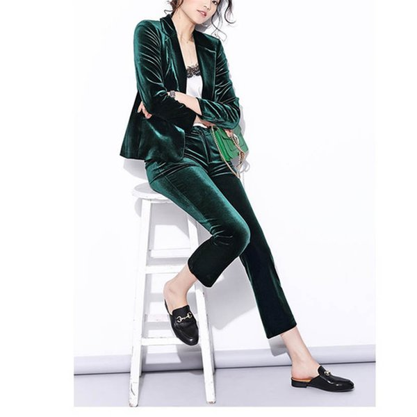 Velvet Pant Suits Women pant suits Spring New High Street Shine Velvet Pant Suits Navy Blue and Dark Green