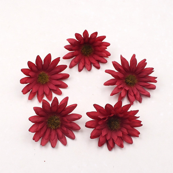 100pcs 6cm Gerbera Artificial Flowers For Wedding Home Decoration Wreath Cloth Apparel Sewing Needlework Art DIY Mariage Craft
