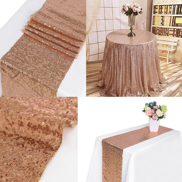 best selling 10pcs Rose Gold 12x72 Inch Sequin Table Runner Sequin Runner Wedding Party Dinner Reception, Bridal Wedding Runner,Christmas decorations