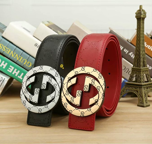 2019 new belt men's genuine fashion plate buckle young men and women type smooth buckle casual letter belt