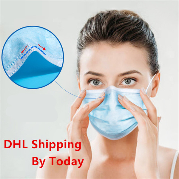 best selling Ships For DHL UPS Fedex Masks Factory Big inventory Disposable Face Mask 3 Layer Anti Dust Face PM2.5 Mouth Protective Cover Masks