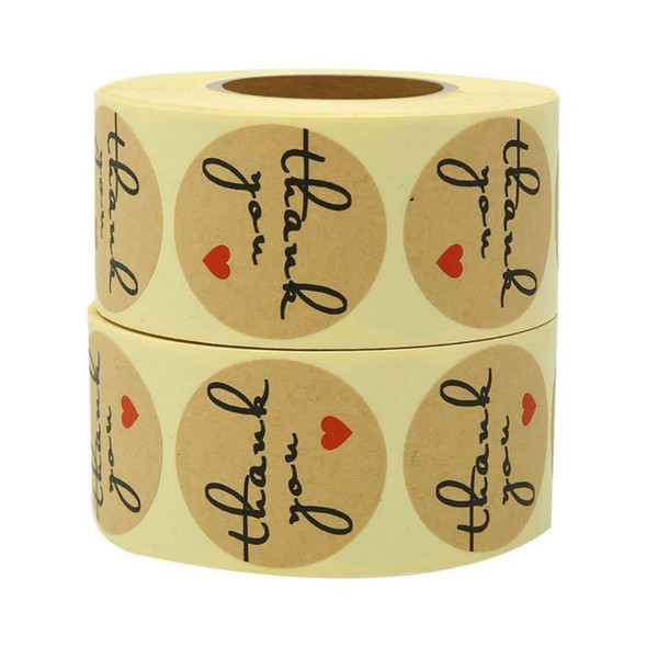 1 inch round kraft paper thank you wedding party gift package adhesive sticker label paper packing baking label box and bag adhesive sticker