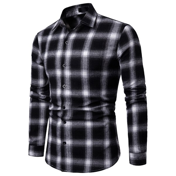 FeiTong Long Sleeve Plaid Shirt Of Men Plus Sizes Top Blouse Mens Cothing 2019 Top Brand Slim Fit Casual Shirts For Male