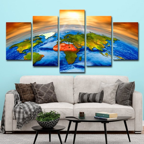 5pcs Sun Outer Space Earth World Map Pictures Paintings Wall Art HD Print Canvas Painting Fashion Hanging Pictures