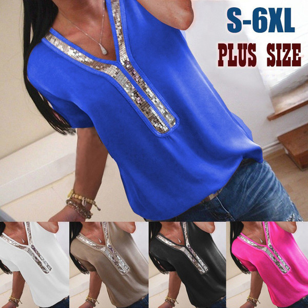High quality 7 Solid colors stitching V-neck T-shirt for women Short-sleeved large size s-5xl female T-shirt