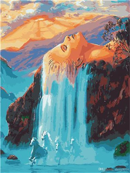 16x20 inches Fairy Blue Hair Falls Down Makes a Waterfall DIY Paint By Numbers Kits On Canvas Art Acrylic Oil Painting