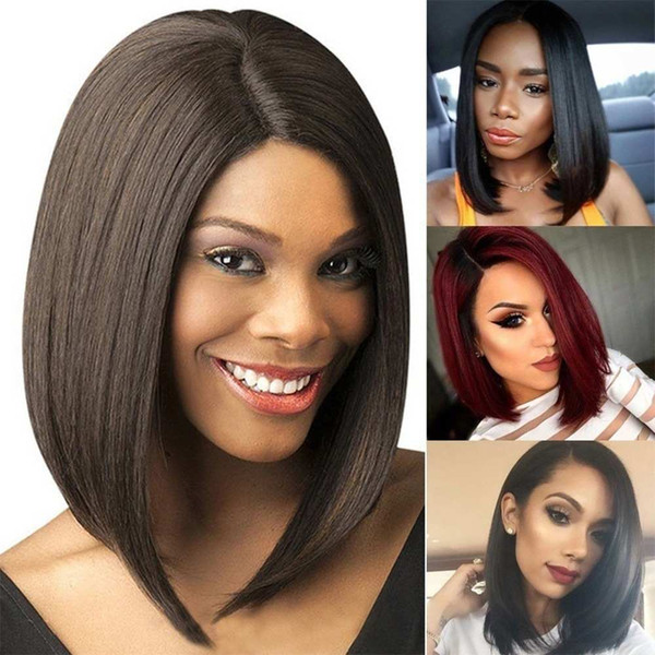 WoodFestival short wigs fordsfsdf black women natural cheap synthetic hair wigs straight 35cm black wig bangs heat resistant fiber