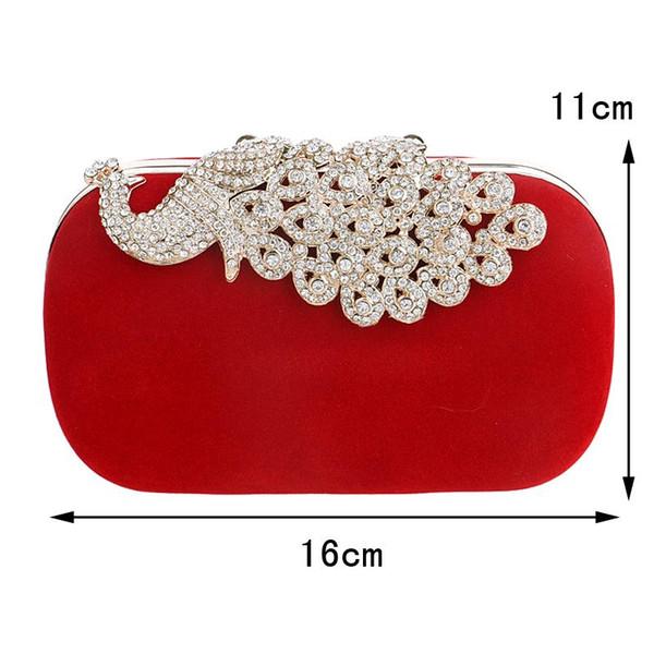 Ausuky Brand Luxury Diamonds Pfau Damen Taschen Samt Strass Abendtaschen für Brieftasche mit Ketten 45