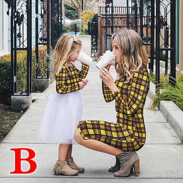 Mother Daughter Dresses Spring Autumn Matching Outfits Moms And Girls Clothes Long Sleeve Plaid Family Dress (Link for Woman)
