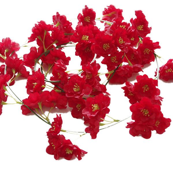 2M lungo artificiale fiore di ciliegio in seta fiore Vine parete appesa glicine per la casa e decorazioni di nozze
