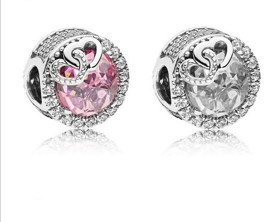 Für Pandora-Armband 20pc rosa Herz Kristallsilber-Charme-Korn-lose Korne für Großverkauf Diy europäischen Sterling Schmuck Kennzeichnung Charme-Frauen