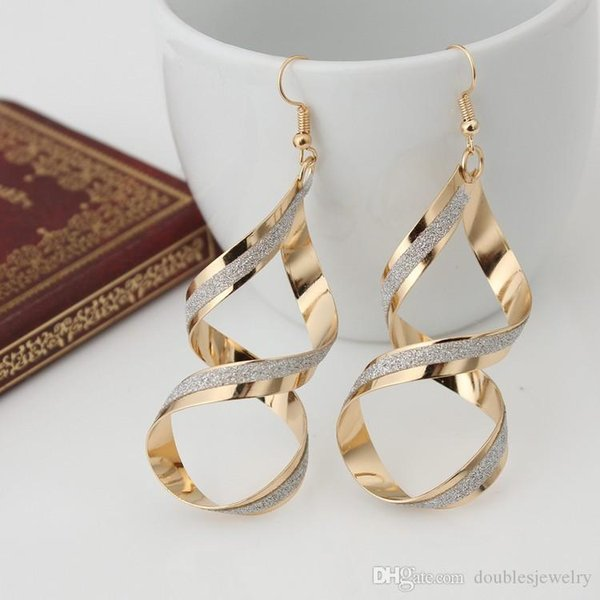 Europe and the United States big rock club exaggerated twist spiral frosted earrings explosion hot earrings wholesale jewelry