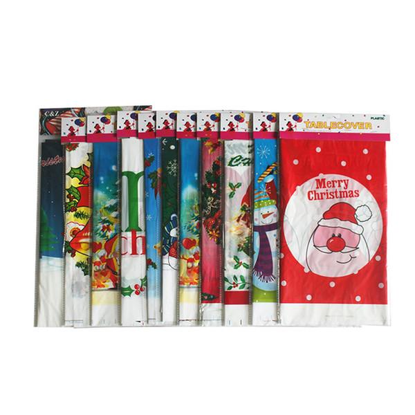 108 * 180 cm Descartáveis Feliz Natal toalha de mesa Retangular Impresso PE de plástico Dos Desenhos Animados Mesa De Jantar Cobre Casa Decoração de Natal FFA1339