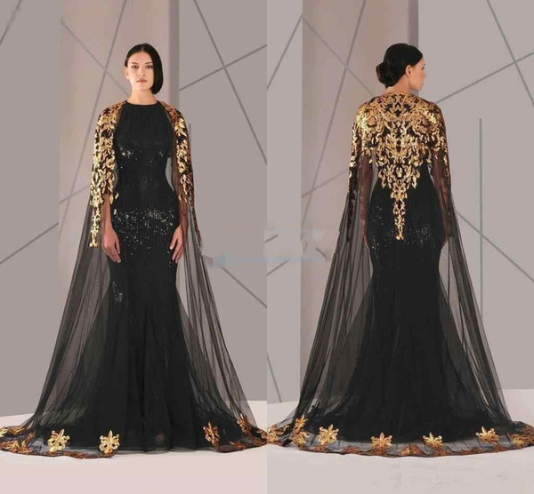 2019 New Black Arabic Muslim Evening Dresses Tulle Cloak Gold and Black Sequins Crew Neck Mermaid Formal Wear Long Pageant Prom Dress