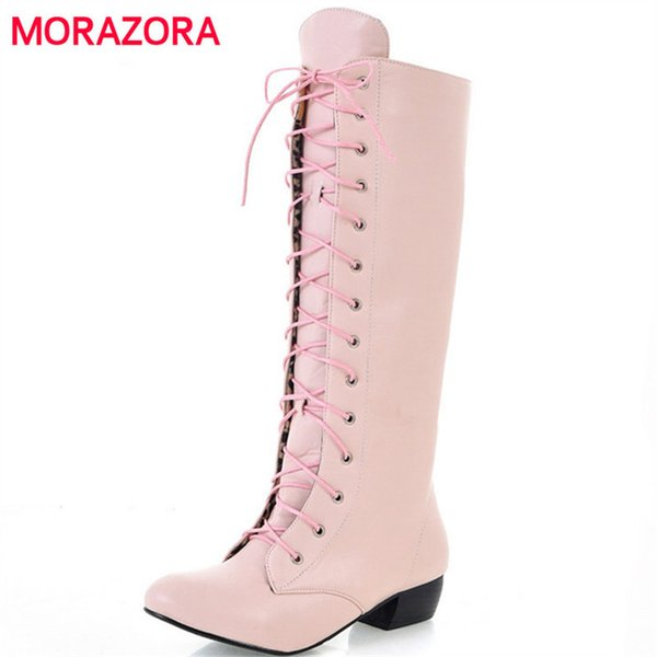 New Fashion Knee High Boots Lace Up Sexy Low Heels Comfortable High Quality Autumn Women Boots White Black Pink