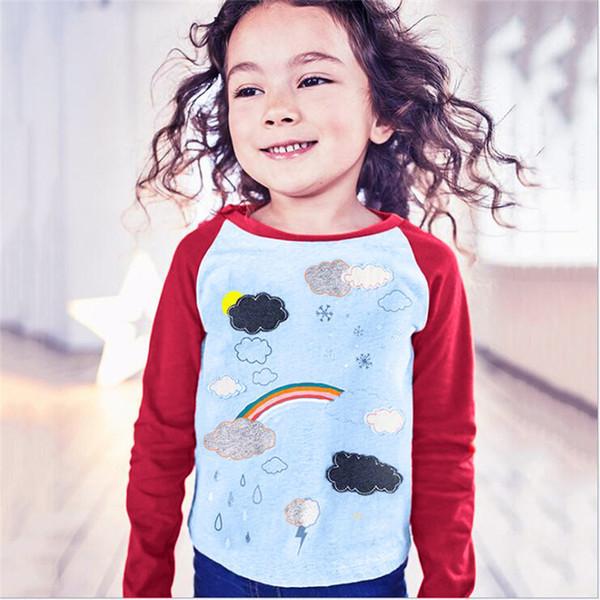 Inverno Roupas de Bebê Meninas Do Bebê Tops E T Crianças Crianças Meninas Manga  Longa Rainbow Nuvem 8578dac3665