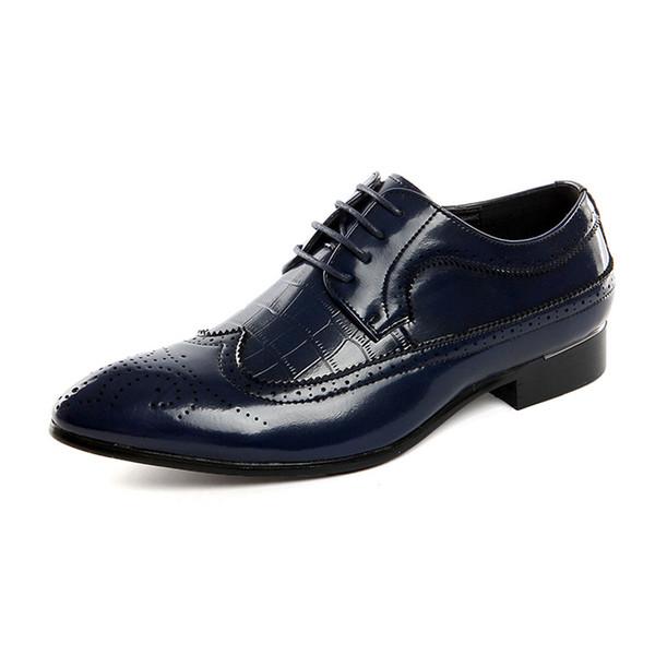 Zapatos brogue tallados para hombres Zapatos de vestir de Oxford Pisos casuales Tamaño 45 extra grande 46 extra grande 47 48 Zapatos de ocio para hombre 37