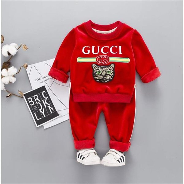 Children's Clothing Boys and Girls Autumn and Winter Suit Thickening 1-5 Years Old Baby Gold Carved Cashmere Baby Children's Winter Sweater