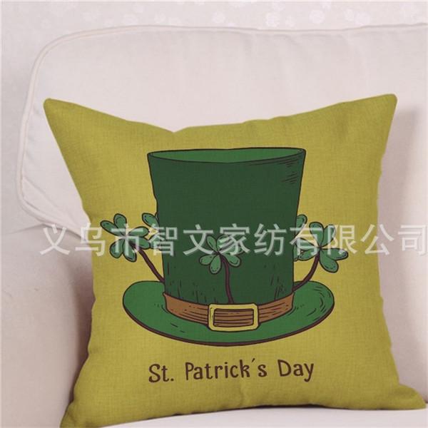 Yonca Yaprakları Çiçek Yastık Kılıfı Kare Baskı Yeşil Renk Çevre Dostu St Patricks Günü Minder Kapak 5zw E1