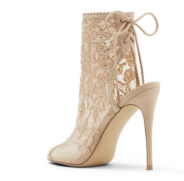 Peep Toe Sapatos de Casamento Rendas Bombas Lace Up Frete Grátis de Salto Alto 10 CM Toe Sandálias de Festa Sapatos de Noiva À Noite Toe Prom Mulheres Sapatos