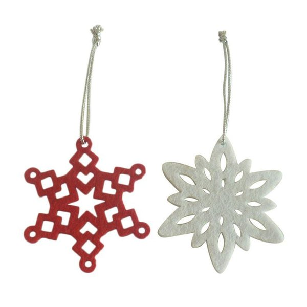 10pcs Pack Christmas Fabric Snowflake Pendants Christmas Tree Decoration