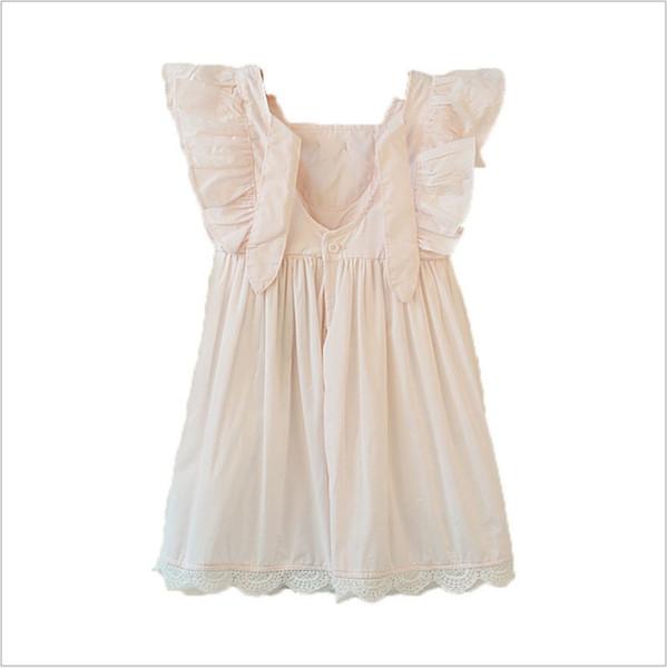 Yeni tasarım Kızlar Elbiseler Çocuk yaz dantel kolsuz çiçek Dantel Pamuk Elbise Moda Çocuk yay düğüm Giyim etek