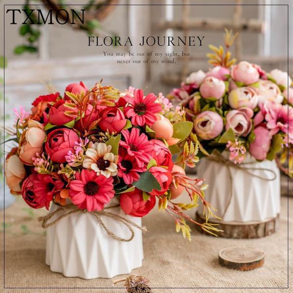 Нордик искусственный цветок комплект (цветок + вазы) керамические конопли веревки ваза розы искусственные растения в горшках дома свадьба украшение поддельный цветок SH190920