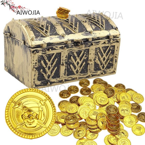 50pcs Pirates Gold Coins Gift For Kid Boy Birthday Party Supplies Treasure Coins Pretend Treasure Chest 5ZHH204