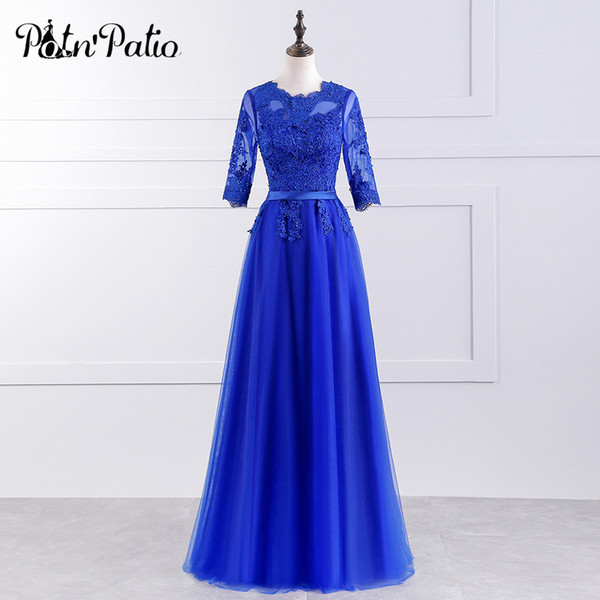 Venda Por Atacado azul royal dama de honra vestido longo elegante o pescoço meia mangas de renda de luxo apliques festa de casamento